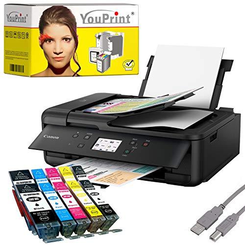 Canon PIXMA TR7550 printer inkjetprinter, multifunctioneel, zwart (printen, scannen, kopiëren, cloudlink) met comp. YouPrint® inktpatronen PGI-580/CLI-581 XXL Set 2: mit 10 Druckerpatronen zwart