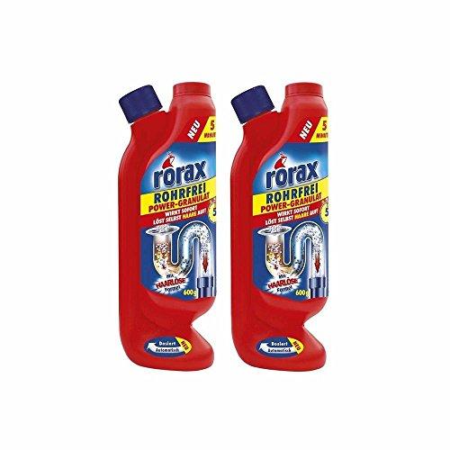 2x rorax Rohrfrei Power-Granulat Dosierflasche 600g - Wirkt sofort & löst selbst Haare auf