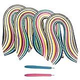ENGESTON Set di Strisce di Carta per Quilling(3/5/7/10x390mm), 26 Colori 1040 Strisce di Carta Quilling e 2 Penna Quilling per Fai da Te Artigianato di Carta, Creazione di Fiori di Carta