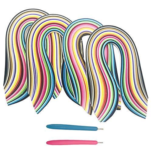 ENGESTON Multi-Size 3/5/7/10 x390mm Papier Quilling Streifen Set, 1040 Streifen, 26 Formen von Farben Quilling Papier, 2 Schlitzstift für DIY Quilling Kunsthandwerk, Papier Blumen schaffen