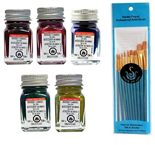 Testors Flake Enamel Model Paint Variety, Flake Red, Flake Purple, Flake Blue, Flake Green, and Flake Gold, 1/4oz (Pack of 5) - with Spice of Life Paint Brush Set