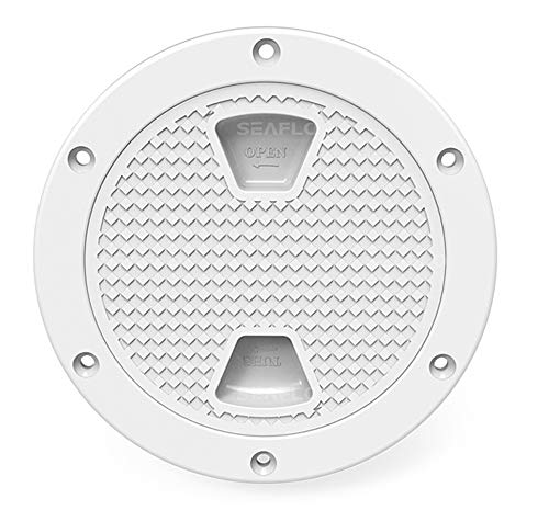 SEA FLO 4' - 8' White Circular Non Slip Inspection Hatch w/Detachable Cover (4')