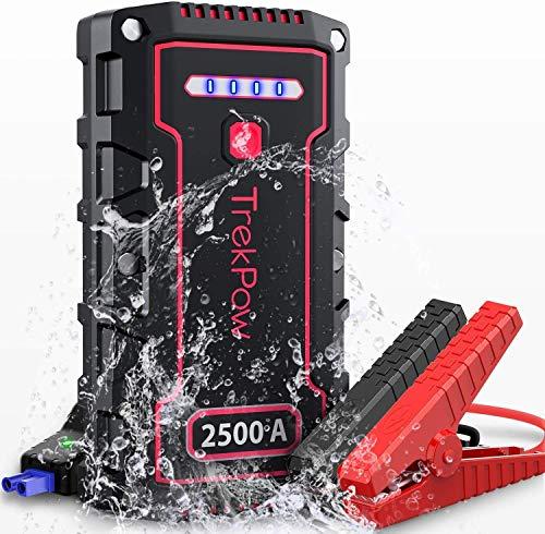 Trekpow ジャンプスターター/最大2500A電流/9Lまでのガソリンエンジン車・8Lまでのディーゼル車、モーターバイクに対応/BOOST機能/モバイルバッテリー/搭載 QC 3.0 & USB-Cスマホ急速充電器/充電ケーブル、ACアダプター搭載/ス