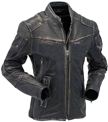 Men's Vintage Motorcycle Cafe Racer Biker Distressed Leather Jacket Black, Leather, XX-Large