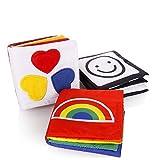 Gearmax Piccolo libro di Stoffa per neonato per lo sviluppo visivo, Set di libri di cancelleria composto da 3 parti per lo sviluppo intellettuale del bambino