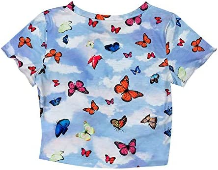Womens Butterflies Printed Short Sleeve Round Neck Casual Summer Cami Crop Tops Cute Teen Girl product image