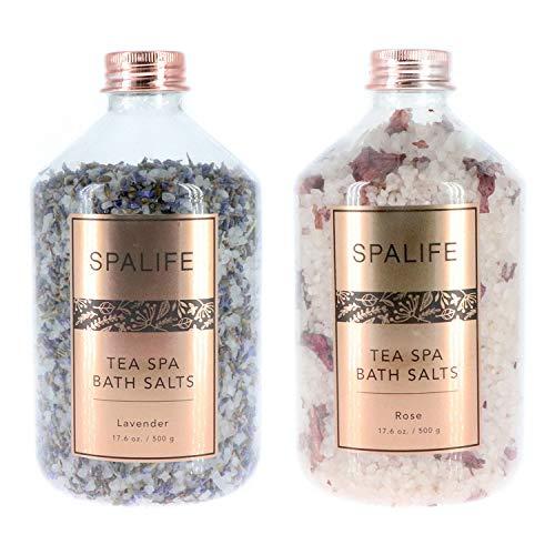 SpaLife Soothing PetalInfused Effervescent Mineral Bath Salts  2 Pack 176 oz ea Lavender amp Rose