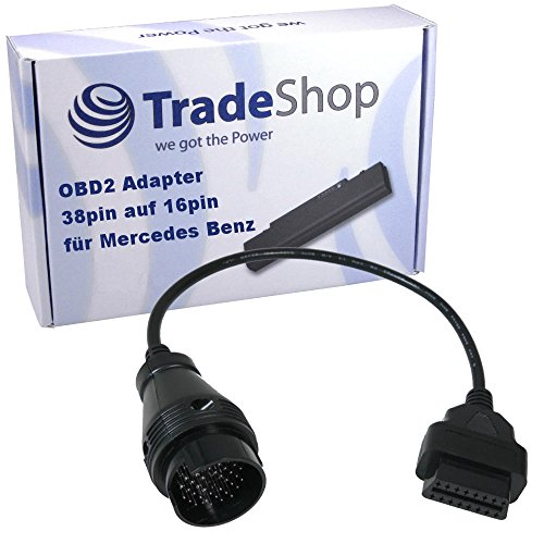 38Pin Rundstecker Mercedes Benz ODB DLC Adapter für 16Pin ODB2 Stecker Autoboss / AutoDia / Bosch KTS / BPS-100 / DXM / Hella Gutmann / KKL Interface / iCarsoft i810 i980 / Launch C-Reader