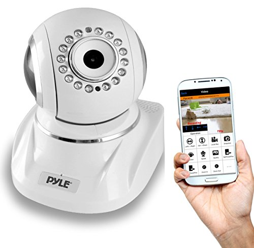 indoor camera for androids Pyle Indoor Wireless IP Camera - HD 1080p Network Security Surveillance Home Monitor System - Motion Detection, Night Vision, PTZ, 2 Way Audio, iPhone Android Mobile App - PC WiFi Access - PIPCAMHD82
