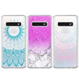 BEAULIFE Case for Samsung Galaxy S10 Painted 3Pcs Series Phone Case Cover Full Body Protective Soft Flexible TPU Case Pink Marble Totem