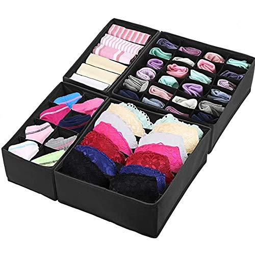 Juego de 4 organizadores de cajones de ropa interior - sujetador, calcetines, bragas, cajas de almacenamiento, para armario plegable, separador de cajones (Negro)