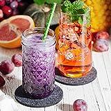 Sidorenko Filz Untersetzer rund für Gläser - 10er Set - Design Glasuntersetzer in dunkelgrau für Getränke, Tassen, Bar, Glas - Premium Tischuntersetzer Filzuntersetzer - 3