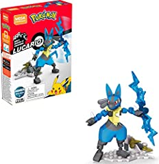 Buildable Lucario figure with articulated arms, legs, head, tail and ears Hand-activated staff with spinning action and battle effect details Buildable environment doubles as a display stand Ideal for ages 6 and up, this building toy provides build-a...