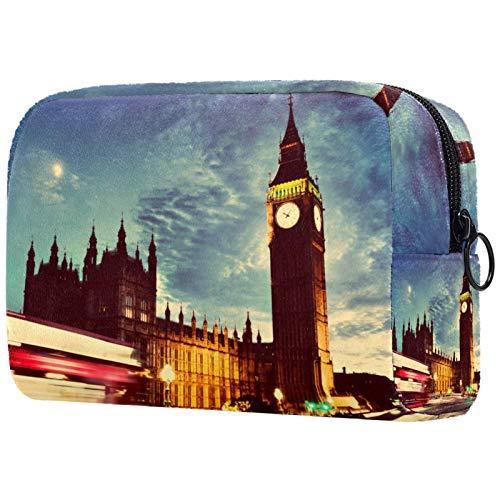 Bolsa de tocador de Viaje portátil Paño de Oxford Bolsa de cosméticos de Vistoso de Organizador de Maquillaje con Cremallera Apto para niñas Big-Ben-Clock 18.5x7.5x13cm