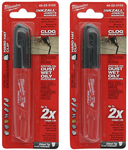 Milwaukee 48-22-3103 Inkzall Chisel Tip Multi Surface Jobsite Marker w/ Water, Oil, and Dust Resistance (2 Pack)