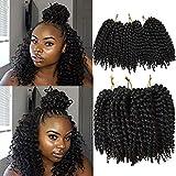 6 piece Flyteng 8 inch Marlybob Kinky Curl crochet hair extensions black color crochet braids Marlybob crochet hair Curly weave hair synthetic Braiding hair …