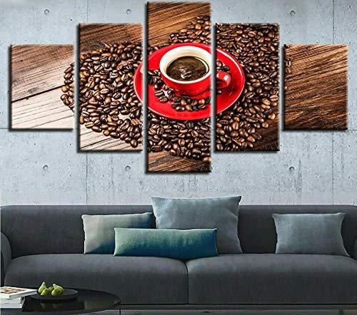 DGFHW Cuadros Modernos 5Piezas Grano De La Taza De Café Póster De Arte Moderno Oficina Sala De Estar O Dormitorio Decoración del Lienzo 5 Pieza150X80Cm