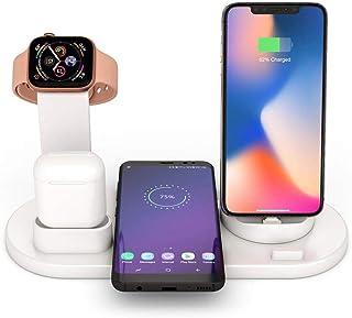FOONEE 6 en 1 Estación Carga Rápida Qi Inalámbrica Soporte Carga, Cargador Inalambrico para Apple Watch Series 4/3/2/1, iPhone XS MAX XR X 8, AirPods, Samsung S10 S9 Note 9, Huawei Mate 20 Pro P30
