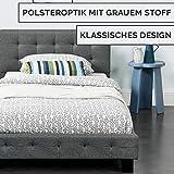ArtLife Polsterbett Manresa 90 x 200 cm - Bett mit Lattenrost und Kopfteil - Zeitloses modernes Design, Grau - 4