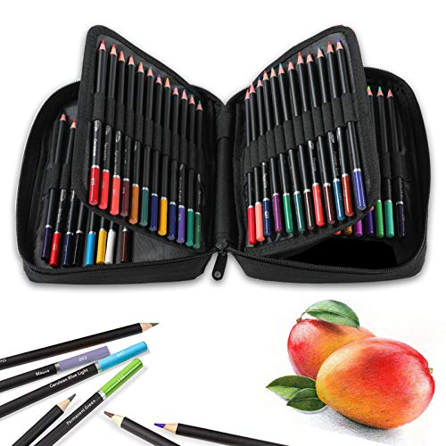 72 Colors Colored Pencils with Zip-Up Case for Adults,Artist, Beginner,Premium Quality Colored Cores with Vivid Colors,Art Supplies Perfect for Drawing Sketching Shading Coloring Book