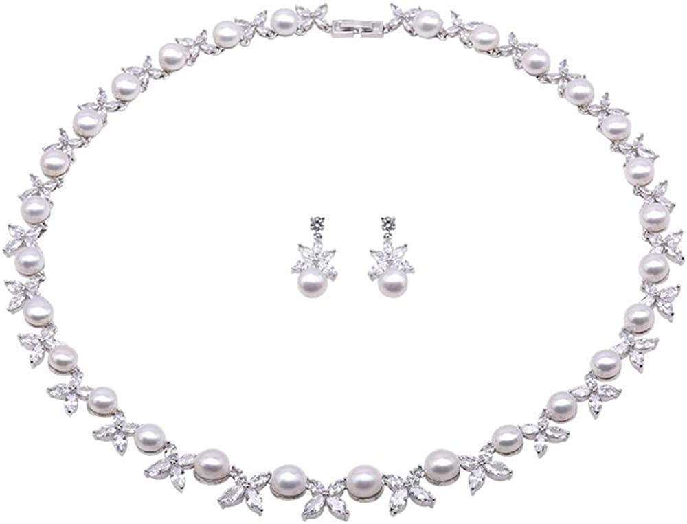JYX Jewelry Set 8-9mm White Freshwater Pearl Necklace and Earrings Set Dotted with Zircons