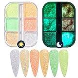 6 colores / juego de colores neón fosforescente luminiscente fluorescente polvo luminoso que brilla en la oscuridad Kit de polvos para uñas Kit de decoración de uñas Maquillaje facial y corporal Dec