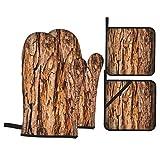 Juego de Manoplas y Porta ollas para Horno,Textura de árbol de Corteza,Guantes y agarraderas Resistentes al Calor para cocinar, Hornear, Asar, Servir, Barbacoa o Cena, Regalo Decorativo de Cocina