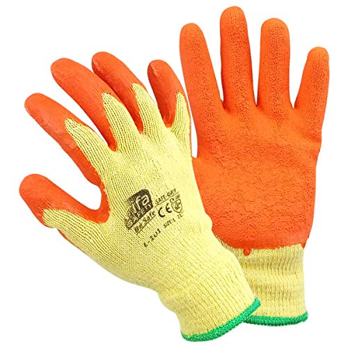 Primeway® Rifa Safety Poly Cotton Knitted Latex Crinkled Coating Seamless Safe Grip Protection Multipurpose Utility Gloves, Universal Size, Orange-Yellow