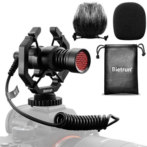 Camera Microphone for Canon Sony Nikon DSLR Camera with Suspension Shock Mount/Hairy Deadcat Windscreen, Bietrun External Cardioid Shotgun Mic for Tiktok Youtube Vlogging, Interviews, Recording