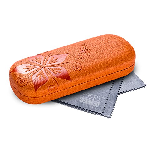 FEFI Hardcase Brillenetui Nature in geprägtem Blumen-Design - Inklusive hochwertigem Brillenputztuch/Mikrofasertuch (Orange)