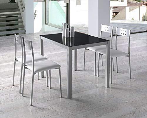 Miroytengo Pack Mesa Cristal Negro + 4 sillas Blancas Cocina Estilo Moderno Comedor Comedor Salon