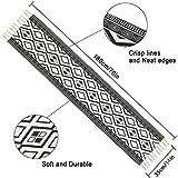 Bateruni Geometrisch Tischläufer, Grau Modern Schwarz Weiß Tischwäsche Matte, Faltenfrei rutschfest Tischband Dekoration für Esszimmer Party Urlaub 35x180cm - 4