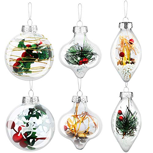 Elcoho 6 Pieces Christmas Ornaments Ball Christmas Hanging Ball Shatterproof Christmas Balls Baubles Fillable Xmas Ball Decorations for Christmas, Wedding Party Decor