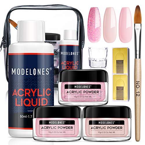 Modelones Acrylic Powder and Liquid Set Glitter Pink Acrylic Nail Kit...