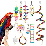 Bird Cages Accessories, 10pcs Colorful Bird Perch Stand Platform, Wooden Ladders Hammock, Swings Bird Parrot Toys with Bells for Small Medium Parrots,Conures, Cockatiels, Budgie, and Lovely Birds