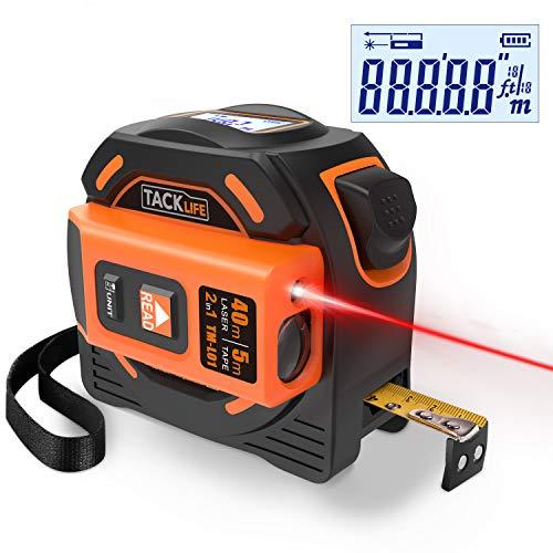 Metro a nastro laser, TACKLIFE TM-L01 Flessometro laser, nastro di misurazione laser 2 In 1 accurato con rotellina, per display a LED, per strumenti di misurazione di architettura domestica