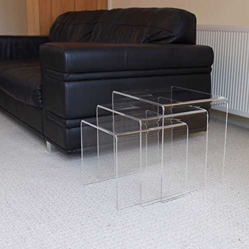 Plastic Online Ltd NEST OF 3 TABLES Premium Acrylic Nesting Side Tables (Clear)
