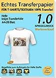 TransOurDream ECHTE Bügelfolie Transferfolie Transferpapier,DIN A4X20 Blatt, Bügelfolie für Tintenstrahldrucker für helle Textilien,T-Shirt Folie zum Aufbügeln,gespiegelt drucken(1.0-20)