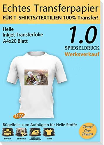 TransOurDream ECHTE Bügelfolie Transferfolie Transferpapier,Bügelfolie für Tintenstrahldrucker für helle Textilien DIN A4X20 Blatt,T-Shirt Folie zum Aufbügeln,gespiegelt drucken(Trans-1-20)