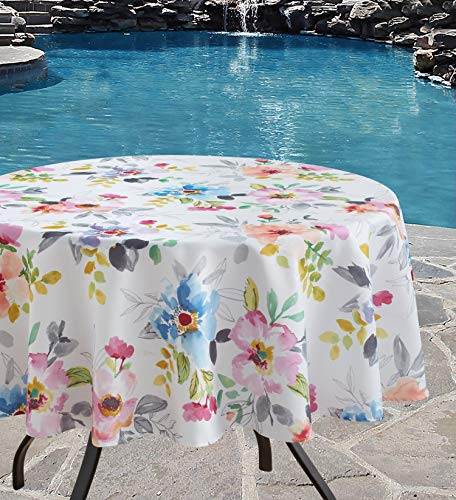 Benson Mills Indoor Outdoor Spillproof Fabric Tablecloth for Spring/Summer/Party/Picnic (Harper, 70' Round)