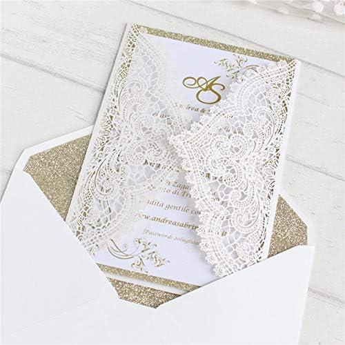 MegOK Invitations de Anniversaire Paillettes Or Bridal Insert enveloppent voituretes de voeux à la Main Impression personnalisée, Blanc, Ensemble Encravater Blanc