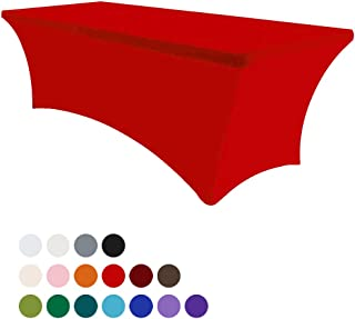 Eurmax 8Ft Rectangular Fitted Spandex Tablecloths Wedding Party Table Covers Event Stretchable Tablecloth (Red)