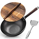 Traditional Carbon Steel 12.5 Inch Hand Hammered Iron Wok for Electric, Induction and Gas Stoves...
