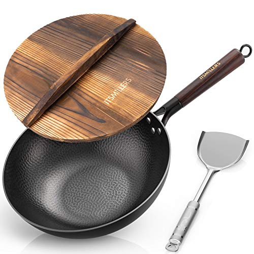 Traditional CarbonSteel 12.5 Inch Hand Hammered Iron Wok for Electric, Induction and Gas Stoves withLidandSpatula