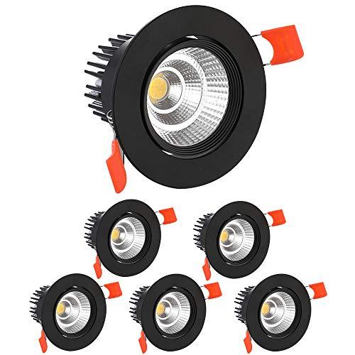 KSIBNW Paquete de 6 Luces LED para Empotrar en Eel Techo,Foco COB de 5 W,Blanco Cálido 3000K 500 lm AC 220-240 V,Recorte de 65-80 mm,Foco con ángulo de haz IP44,120 °para Dormitorio y Baño (Negro)