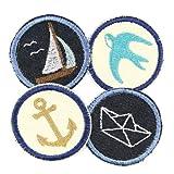 Bügelbilder maritim 4 Aufbügler Flicken ø 5cm Anker Segelschiff Schwalbe Boot zum aufbügeln