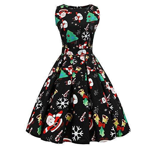 Dorical Damen Cocktailkleider Elegant ärmellos Lachs Kleider Plus Größe Kleider Schicke Bunt weihnachtskleider O-Neck Knielang Silvester Kleider