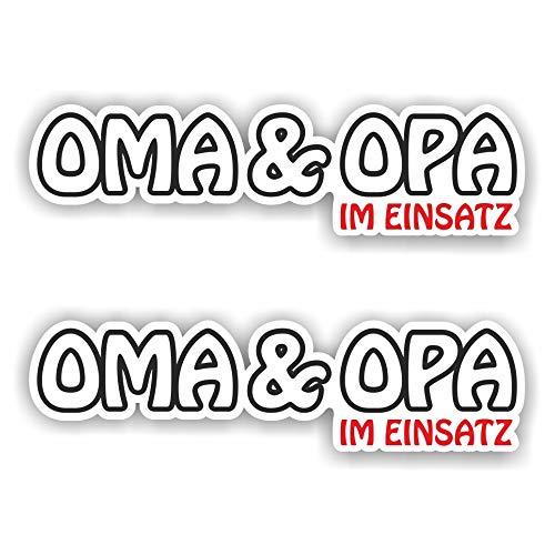 folien-zentrum 2X Oma und Opa im Einsatz Aufkleber Shocker Hand Auto JDM Tuning Dub Decal Stickerbomb Bombing Sticker Illest Dapper Fun Oldschool