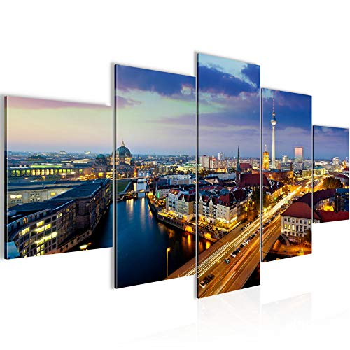 Runa Art - Bilder Berlin 200 x 100 cm 5 Teilig XXL Wanddekoration Design Blau Gold 605151a