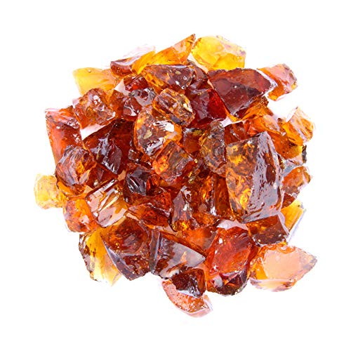 Hiland Fire Pit Fire Glass in Amber, Extreme Tempature Rating, Good for Propane or Natural Gas, 10 Pounds